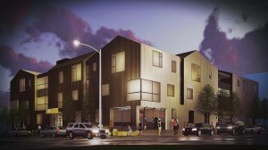 Early Scheme Southwest Corner (Sept 2017) - G BLOC MIXED USE Development - Broad Ripple North Village - Urban Infill - Indianapolis - Christopher Short, Indianapolis Architect, HAUS Architecture For Modern Lifestyles, WERK | Building Modern, Thomas English Retail Real Estate