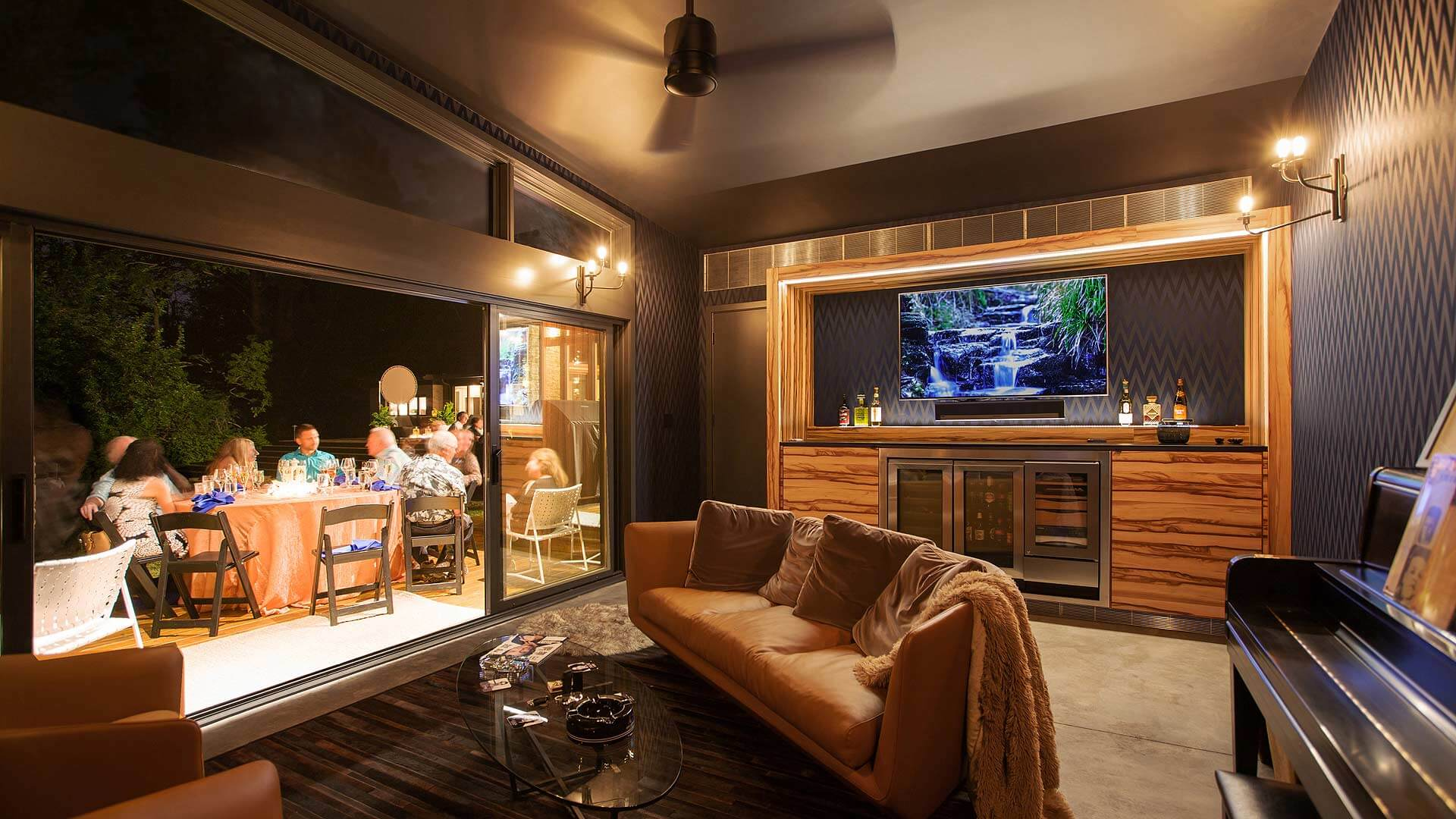Summer Party Nightfall Interior - Cigar Room - Midcentury Modern Addition - Brendonwood, Indianapolis - Christopher Short, Paul Reynolds, Architects, HAUS | Architecture For Modern Lifestyles - WERK | Building Modern - Paul Reynolds, Project Manager