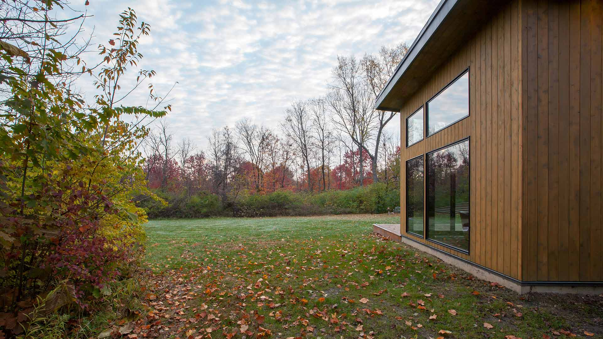 Rear Elevation Fall 2018 - Cigar Room - Midcentury Modern Addition - Brendonwood, Indianapolis - Christopher Short, Paul Reynolds, Architects, HAUS | Architecture For Modern Lifestyles - WERK | Building Modern - Paul Reynolds, Project Manager