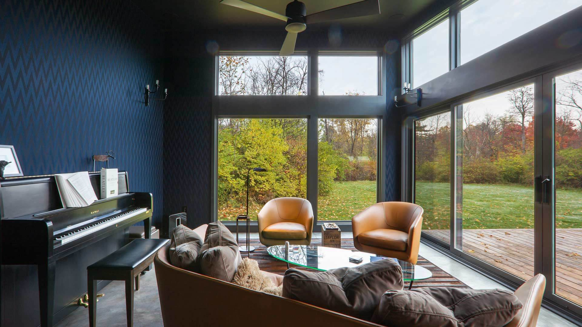 Interior View to Landscape - Cigar Room - Midcentury Modern Addition - Brendonwood, Indianapolis - Christopher Short, Paul Reynolds, Architects, HAUS | Architecture For Modern Lifestyles - WERK | Building Modern - Paul Reynolds, Project Manager