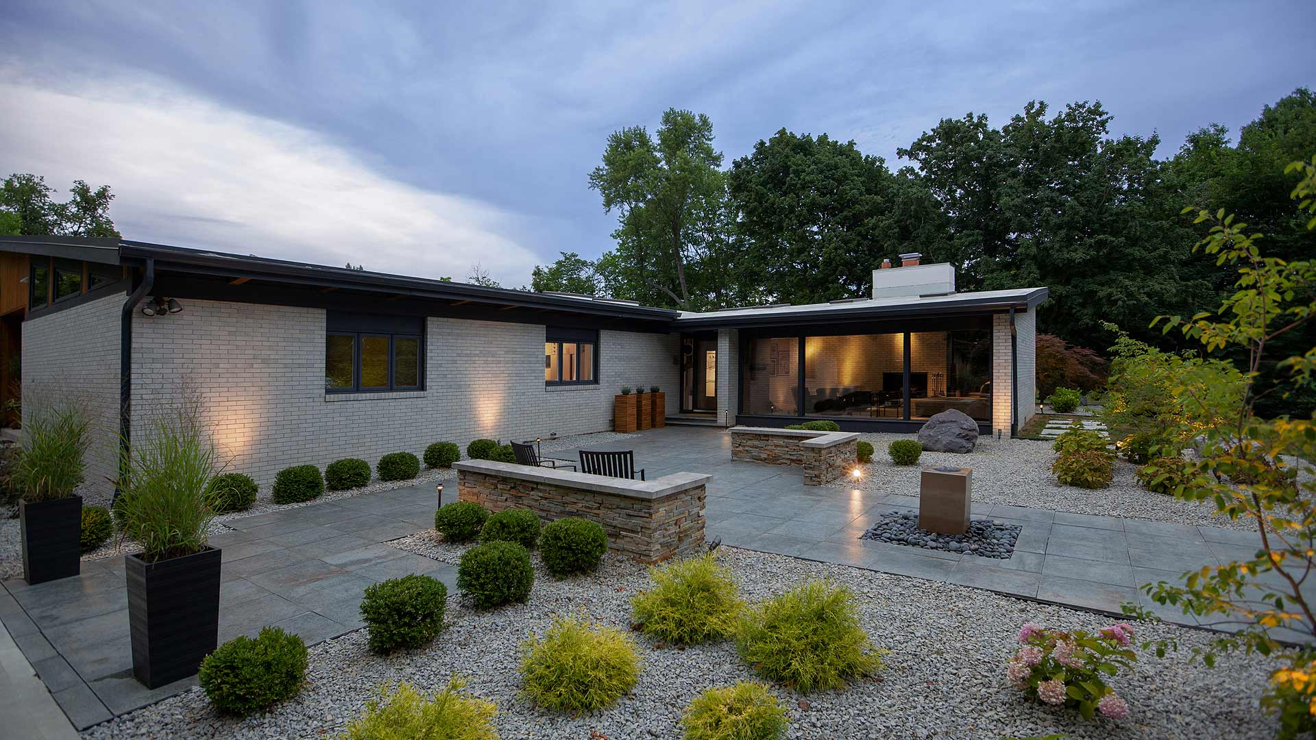 Front Entry Garden - Cigar Room - Midcentury Modern Addition - Brendonwood, Indianapolis - Christopher Short, Paul Reynolds, Architects, HAUS | Architecture For Modern Lifestyles - WERK | Building Modern - Paul Reynolds, Project Manager