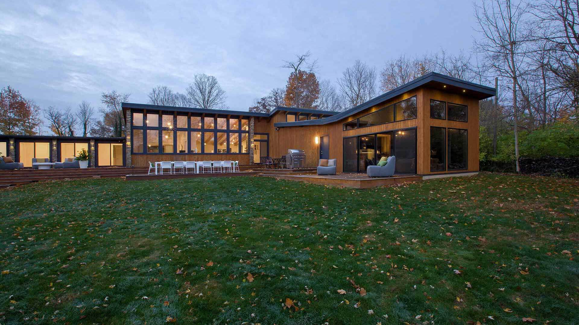 Rear Elevation Fall 2018 - Cigar Room - Midcentury Modern Addition - Brendonwood, Indianapolis - HAUS | Architecture For Modern Lifestyles, Christopher Short, Architect - WERK | Building Modern - Project Manager, Paul Reynolds