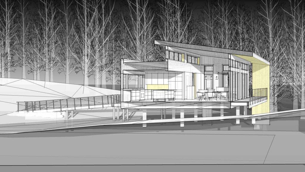 Bridge House, Building Section, Douglas, Michigan - Lake Michigan - HAUS   Architecture For Modern Lifestyles, Christopher Short, Indianapolis Architect, Tom Rigney, TR Builders