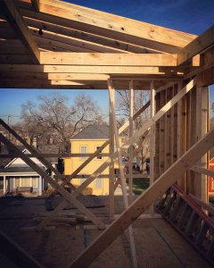Front 3rd Floor Balcony (looking north during framing stage) - Sliver House, 1005 Lexington Avenue - Fountain Square, Indianapolis - HAUS | Architecture For Modern Lifestyles, Christopher Short, Derek Mills, Architects - GEM Homes, Paul Musielak