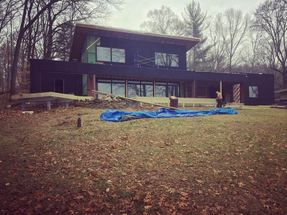 South Elevation Progress - Lakeside Modern Cottage - Unionville, Indiana, Lake Lemon - Christopher Short, Derek Mills, Paul Reynolds, Architects, HAUS Architecture + WERK | Building Modern - Construction Managers - Architect Custom Builders