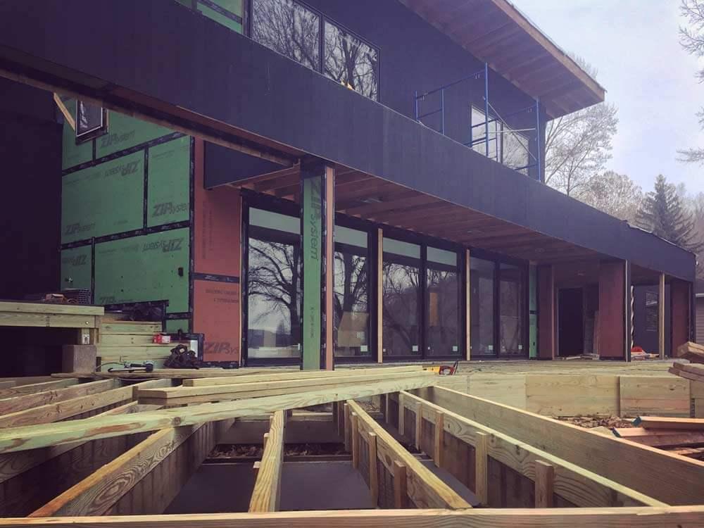 Shou Sugi Ban + Deck Framing Detail - Delta Millworks - Lakeside Modern Cottage - Unionville, Indiana, Lake Lemon - Christopher Short, Derek Mills, Paul Reynolds, Architects, HAUS Architecture + WERK   Building Modern - Construction Managers - Architect Custom Builders