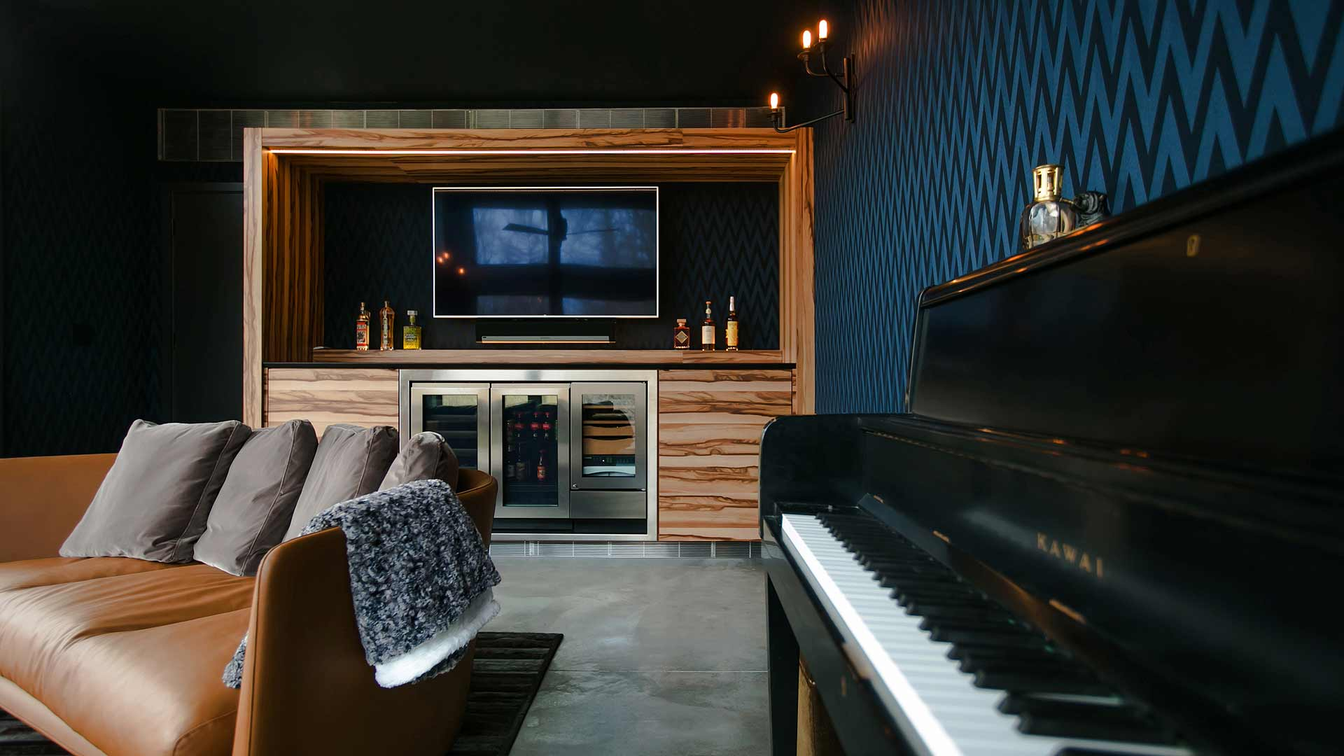 Cigar Room Interior - Piano - Humidor - Midcentury Modern Addition - Brendonwood, Indianapolis - Christopher Short, Paul Reynolds, Architects, HAUS | Architecture For Modern Lifestyles - WERK | Building Modern - Paul Reynolds, Project Manager