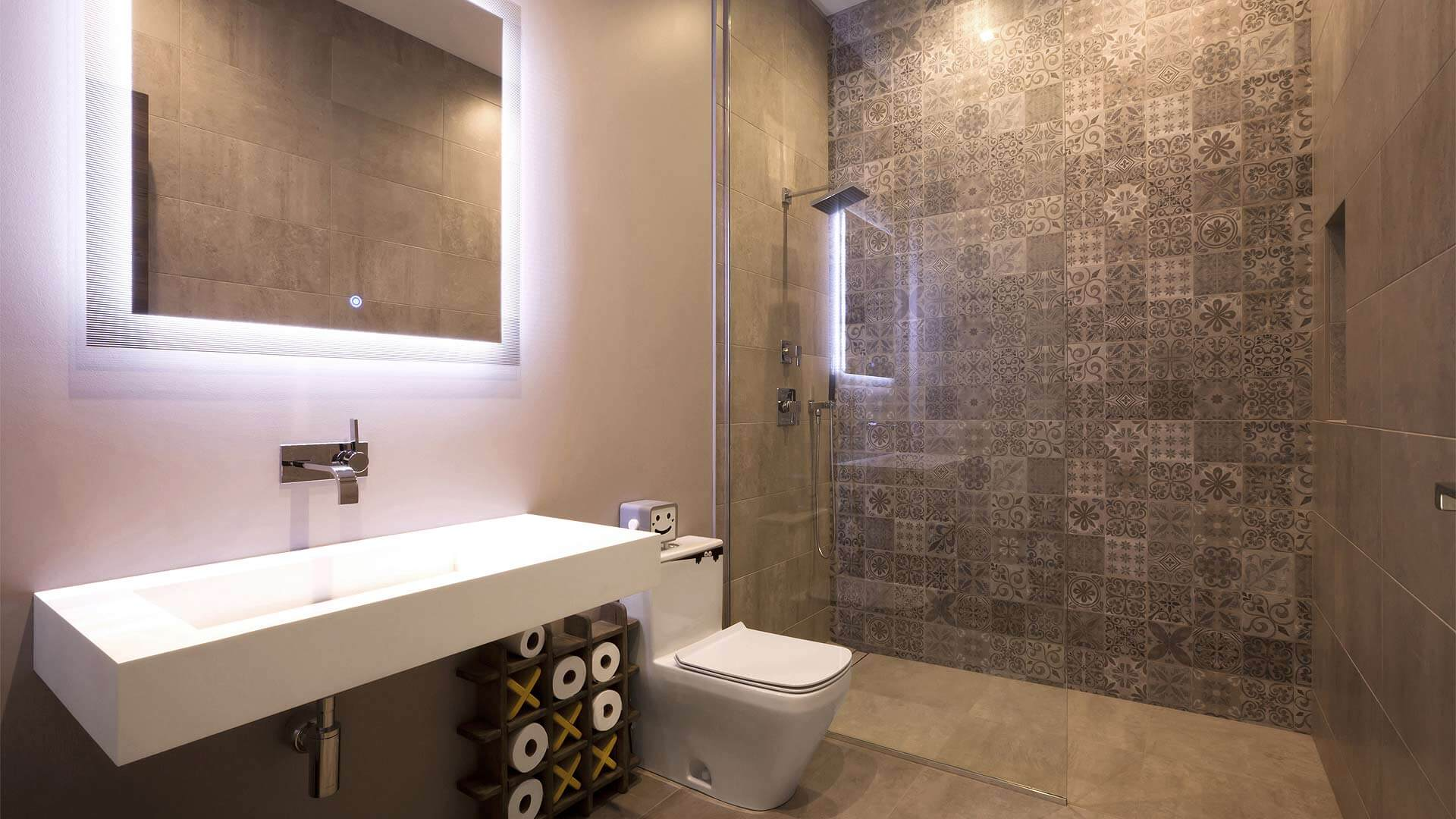 Upstairs Bathroom with full-height shower glass partition, wall tile from Turkey, and integrally-lighted vanity mirror - Minimalist Modern - Indian Head Park - Chicago, Illinois - HAUS   Architecture For Modern Lifestyles, Christopher Short, Indianapolis Architect with Joe Trojanowski