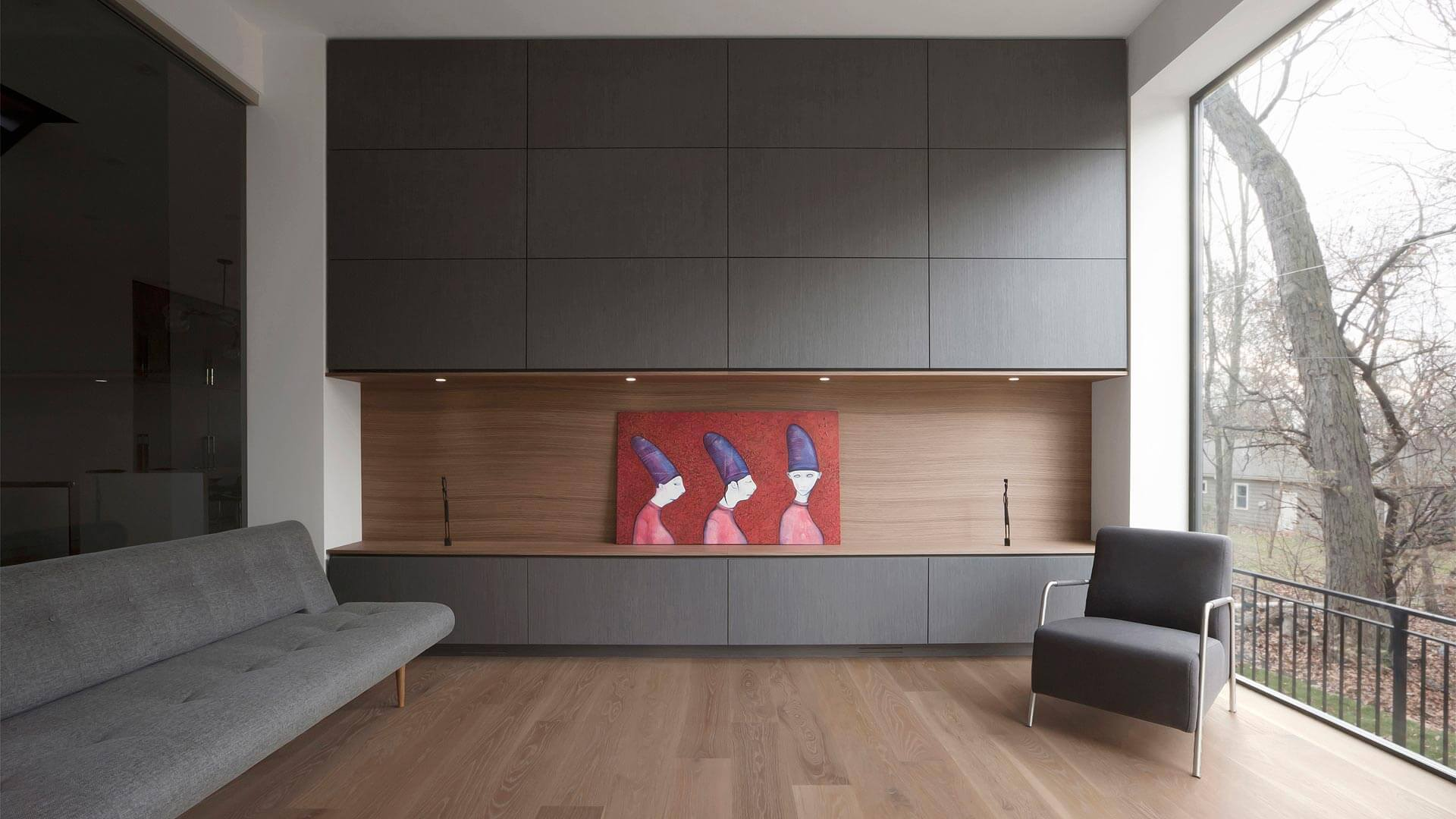 Playroom bordered by millwork storage wall and glazing inside and out - Fleetwood Windows - Minimalist Modern - Indian Head Park - Chicago, Illinois - HAUS   Architecture For Modern Lifestyles, Christopher Short, Indianapolis Architect with Joe Trojanowski