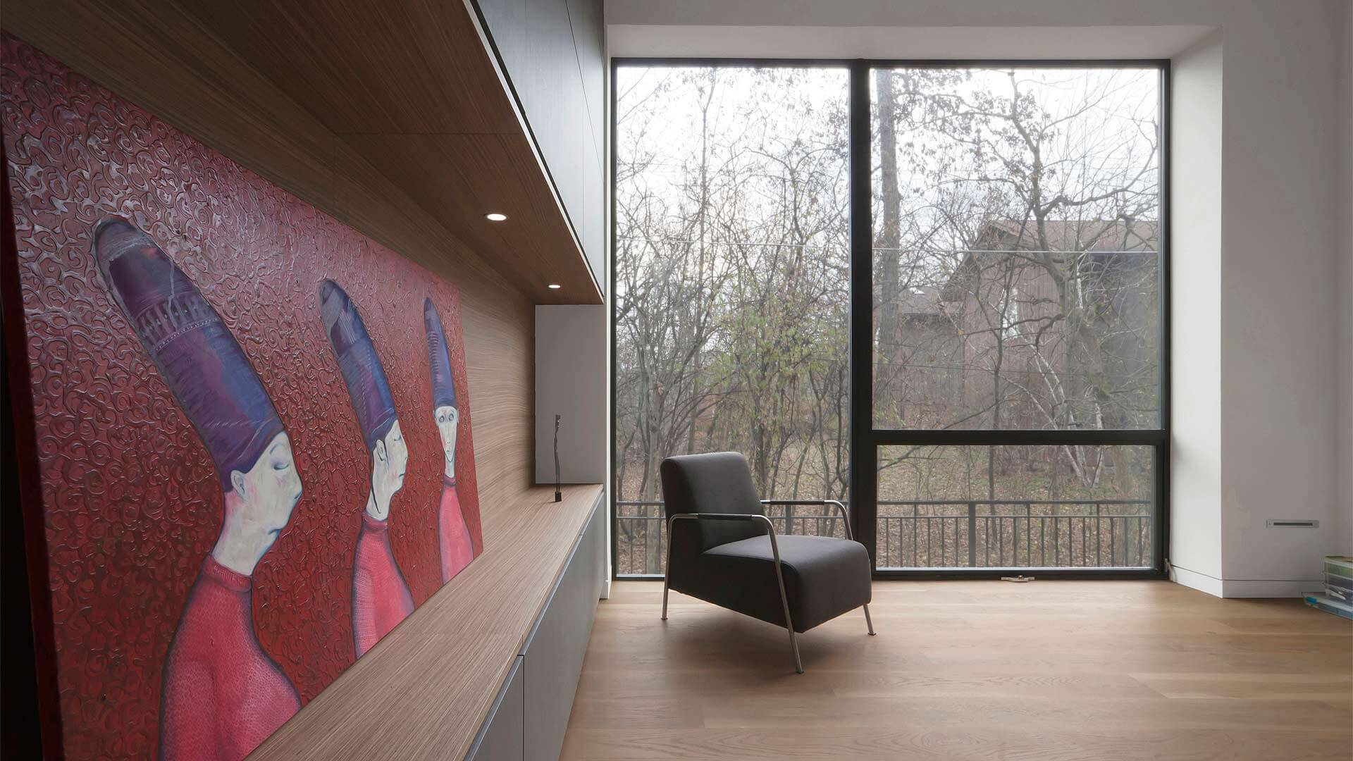 Playroom with full-height storage wall, full-wall glazing, and wide-plank oak flooring - Minimalist Modern - Indian Head Park - Chicago, Illinois - HAUS   Architecture For Modern Lifestyles, Christopher Short, Indianapolis Architect with Joe Trojanowski