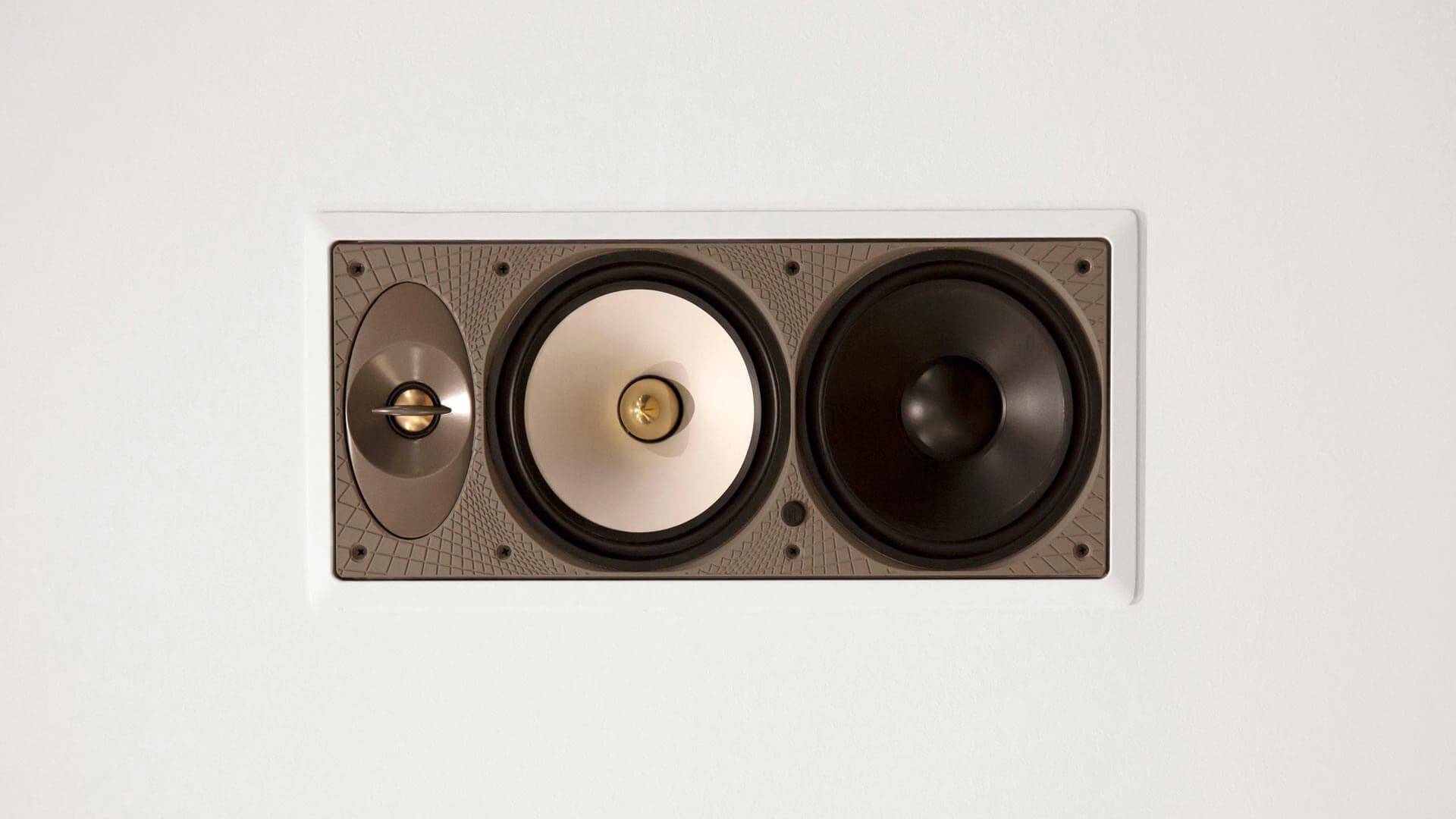 Wall speaker cover is removed to highlight speaker detail - White Modern Art - Minimalist Modern - Indian Head Park - Chicago, Illinois - HAUS | Architecture For Modern Lifestyles, Christopher Short, Indianapolis Architect with Joe Trojanowski