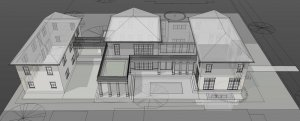 Initial 3D Concept Model (Traditional Carriage House) - Modern Villa Urban Home, Old Northside, Indianapolis - Christopher Short, Architects, HAUS Architecture