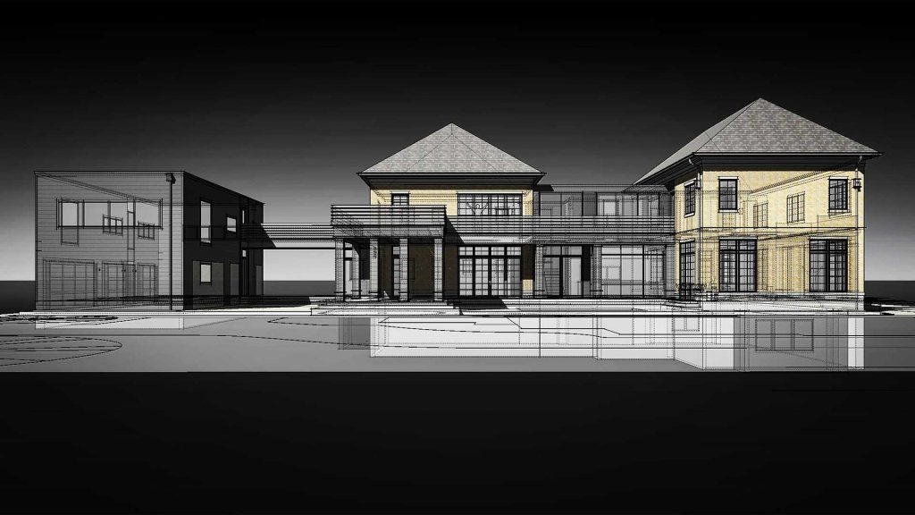 South Elevation View shows traditional + modern mix with connecting carriage house - Modern Villa - Old Northside, Indianapolis - Christopher Short, Paul Reynolds, Architects, HAUS Architecture - ZMC Urban Homes - Pat Stroup, Custom Builder