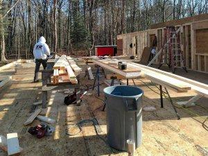 Framing Progression (W looking E) - Bridge House - Douglas, Michigan - Lake Michigan - HAUS | Architecture For Modern Lifestyles, Christopher Short, Indianapolis Architect, Tom Rigney, TR Builders