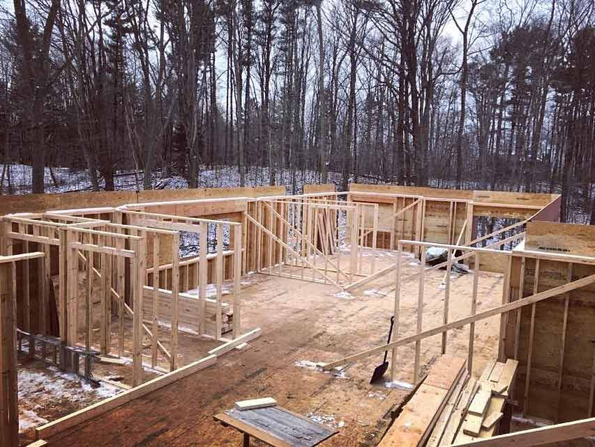 Framing Progression (NE looking W) - Bridge House - Douglas, Michigan - Lake Michigan - HAUS | Architecture For Modern Lifestyles, Christopher Short, Indianapolis Architect, Tom Rigney, TR Builders