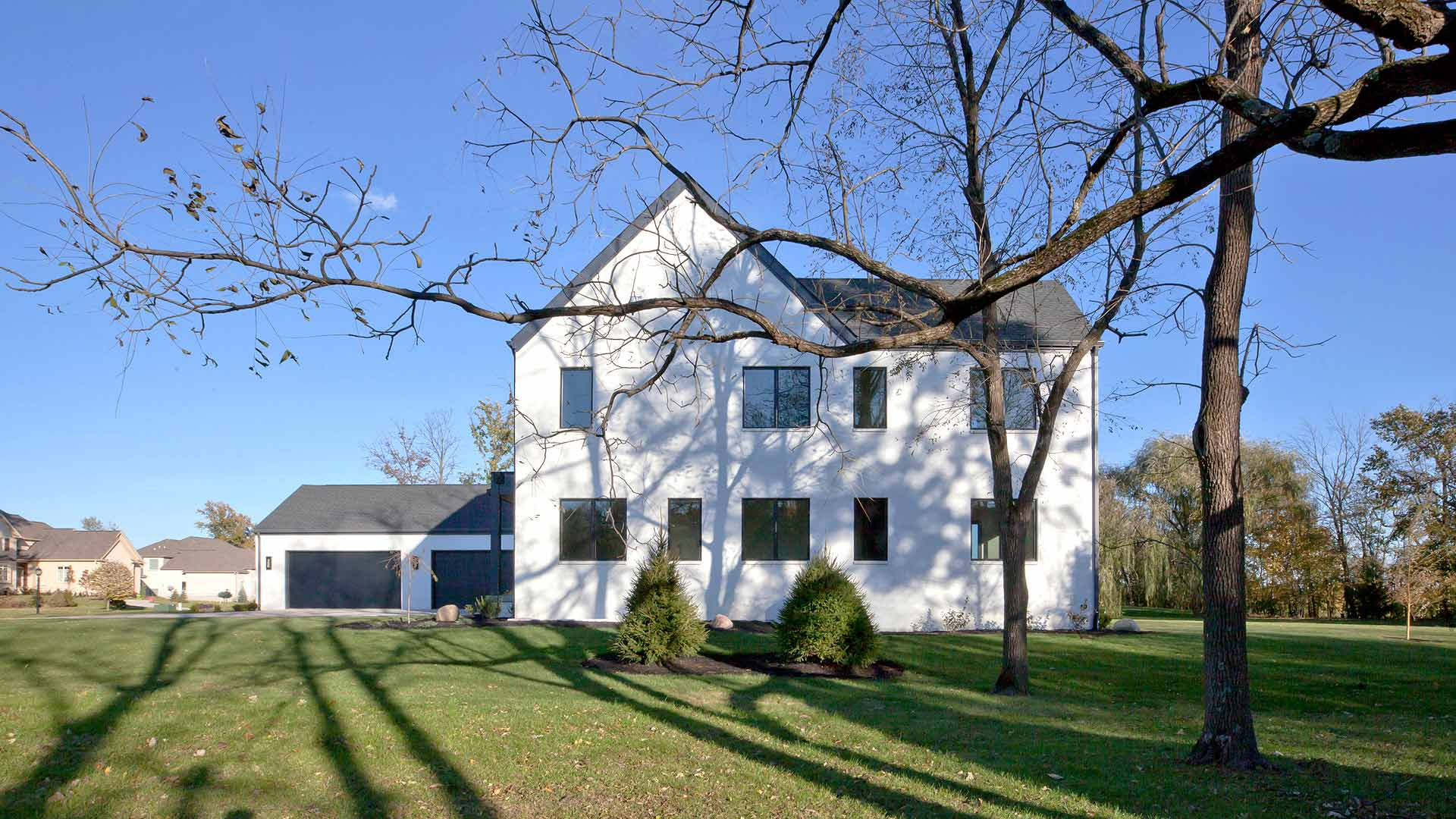 West Exterior Elevation - Modern Colonial House - Towne Oak Estates, Steffe Drive, Carmel, Indiana - Christopher Short, Derek Mills - Indianapolis Architects, HAUS | Architecture For Modern Lifestyles
