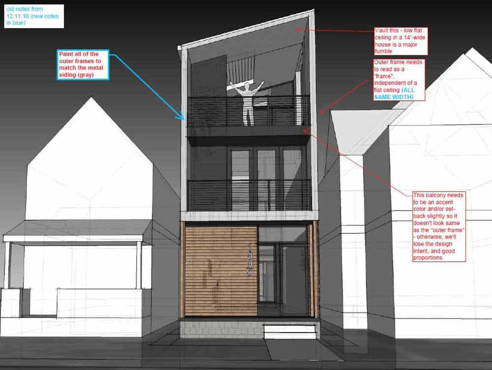 Design + Construction Dialogue - front balcony details (3D model) - Sliver House Rises in Fountain Square, Indianapolis - HAUS | Architecture For Modern Lifestyles - GEM Homes - Christopher Short, Architect - Derek Mills - Paul Musielak, Builder