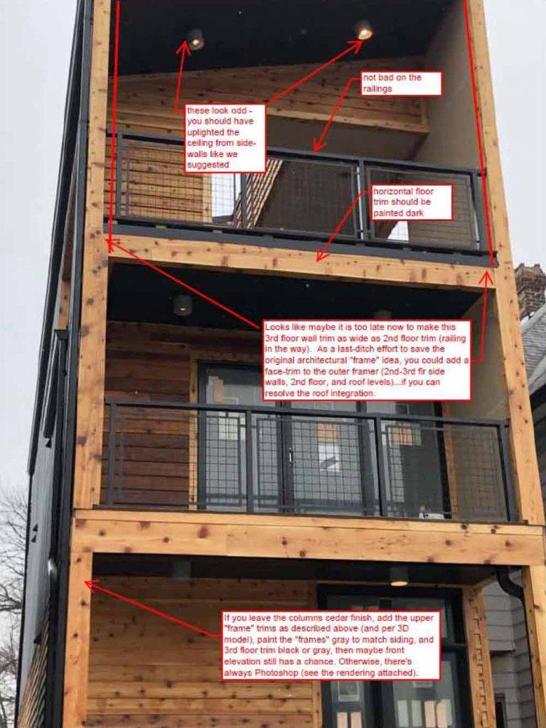 Design + Construction Dialogue - front balcony details - Sliver House Rises in Fountain Square, Indianapolis - HAUS | Architecture For Modern Lifestyles - GEM Homes - Christopher Short, Architect - Derek Mills - Paul Musielak, Builder