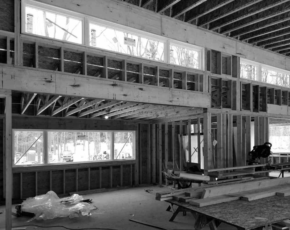 Interior Transom + Kitchen Window Framing Progress - Bridge House - Douglas, Michigan - Lake Michigan - HAUS   Architecture For Modern Lifestyles, Christopher Short, Indianapolis Architect, Tom Rigney, TR Builders