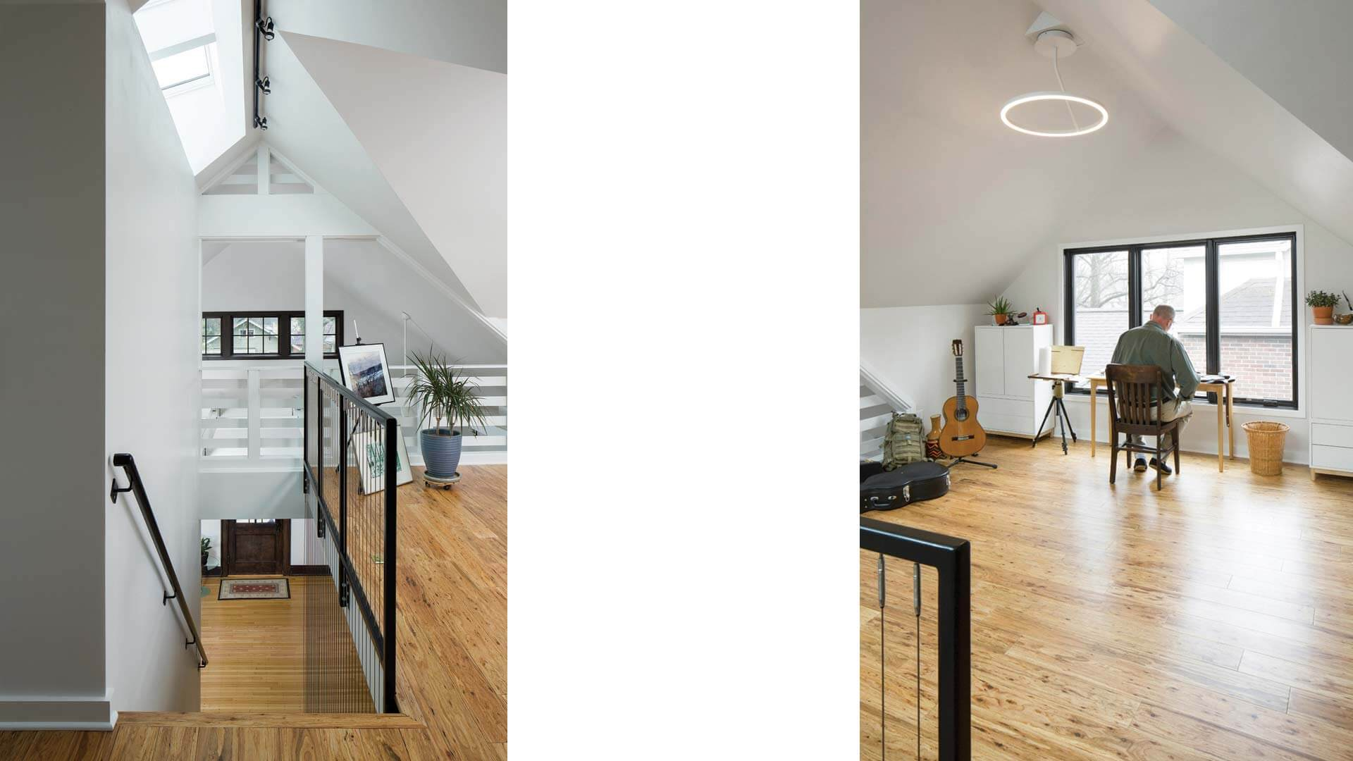 Loft Music Room sits adjacent to architectural stair under skylight and overlooks double-height living space - Broad Ripple Modern Craftsman - Carrollton Avenue - Indianapolis, Indiana, Christopher Short, Architect, HAUS Architecture + WERK   Building Modern - Paul Reynolds