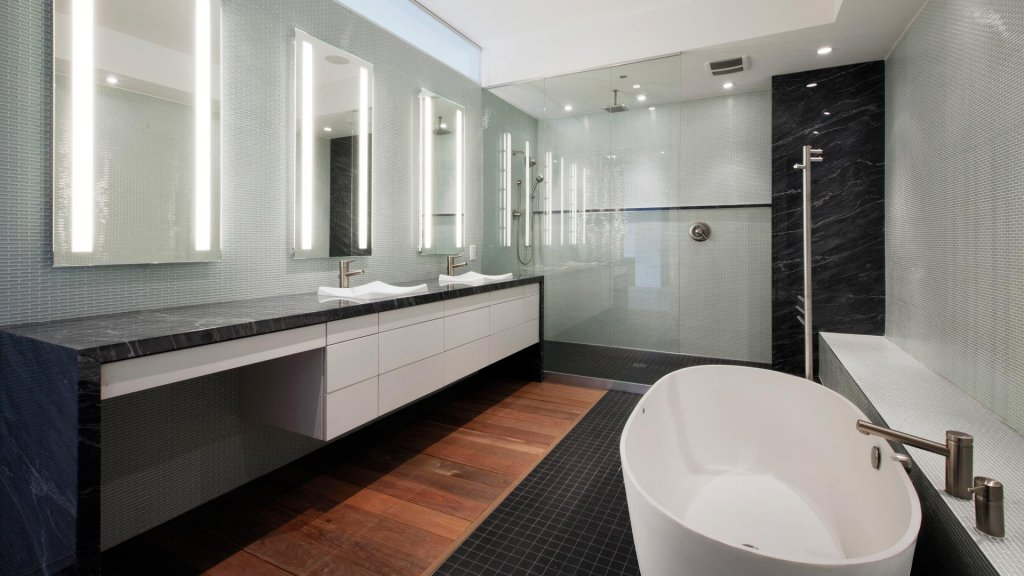 Urban Mid Rise Flat - Modern Bathroom - HAUS Architecture, Christopher Short, Indianapolis Architect