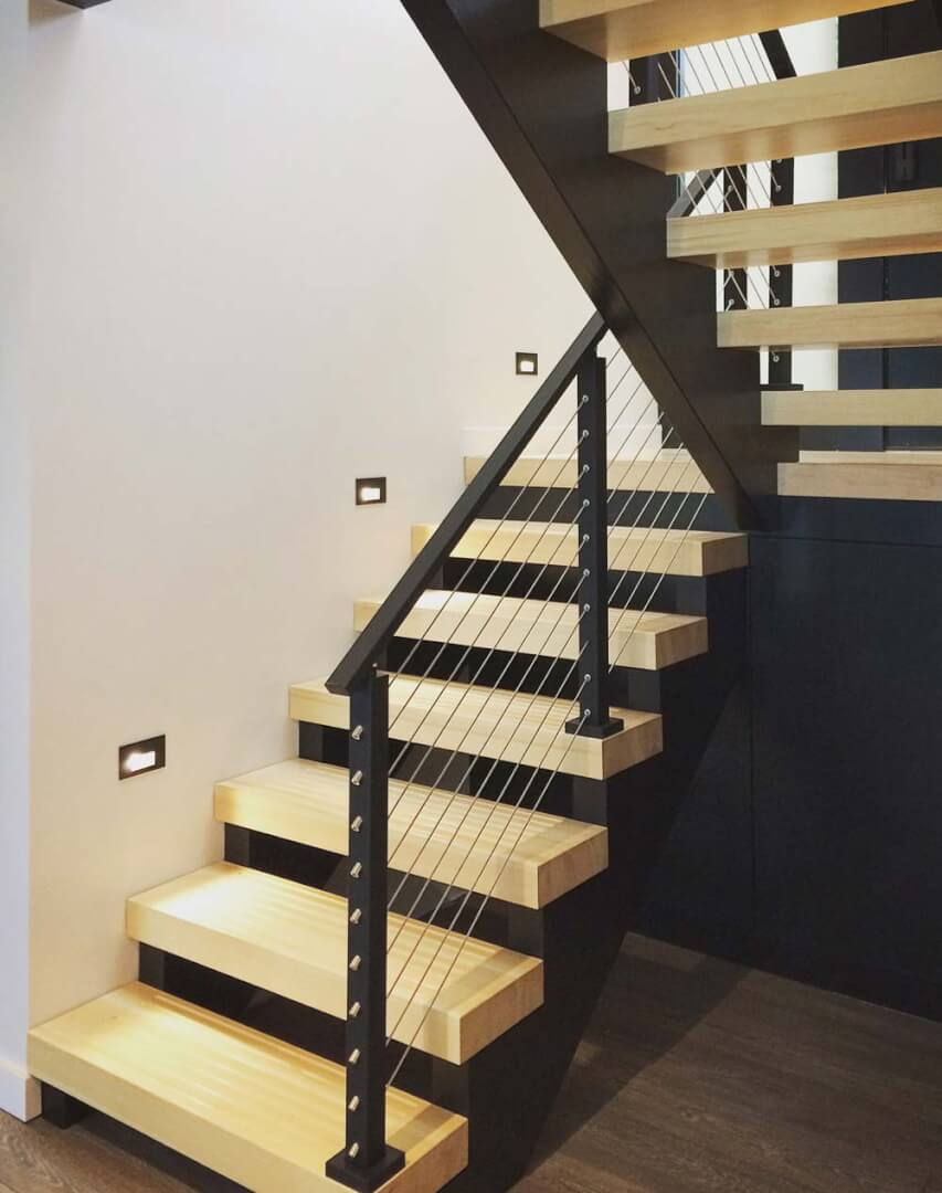 Architectural Open-Riser Custom Stair - Lakeside Modern Cottage - Unionville, Indiana, Lake Lemon - Christopher Short, Derek Mills, Paul Reynolds, Architects, HAUS Architecture + WERK | Building Modern - Construction Managers - Architect Custom Builders