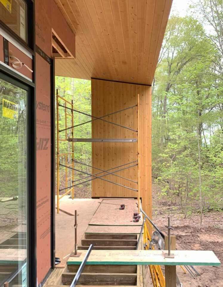 Cladding Progress (North Bridge Looking West) - Bridge House - Douglas, Michigan - Lake Michigan - HAUS | Architecture For Modern Lifestyles, Christopher Short, Indianapolis Architect, Tom Rigney, TR Builders