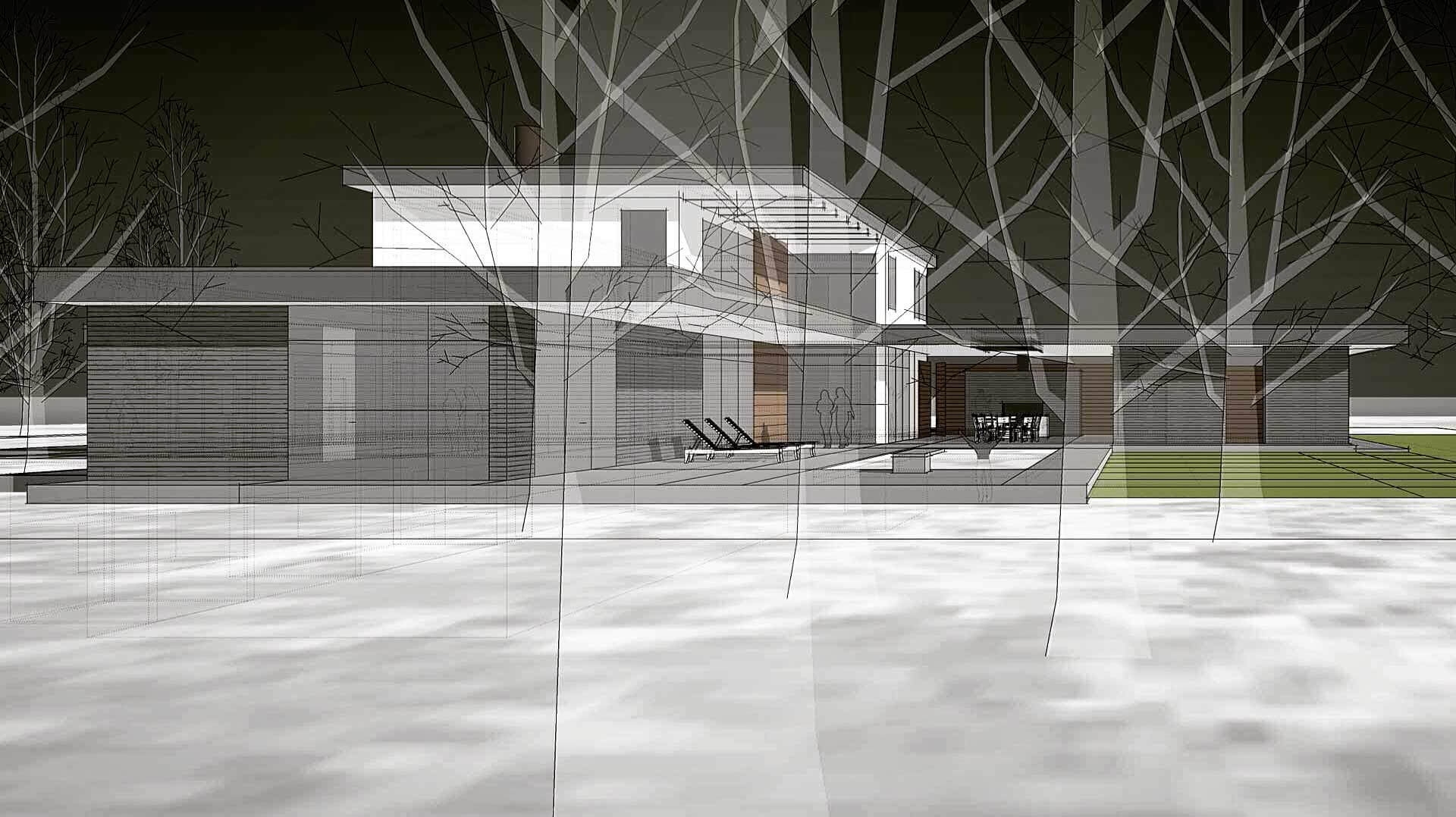 Paper Architecture (unbuilt 2015 midcentury modern inspired design) - North Crows Nest - Indianapolis, IN - HAUS | Architecture