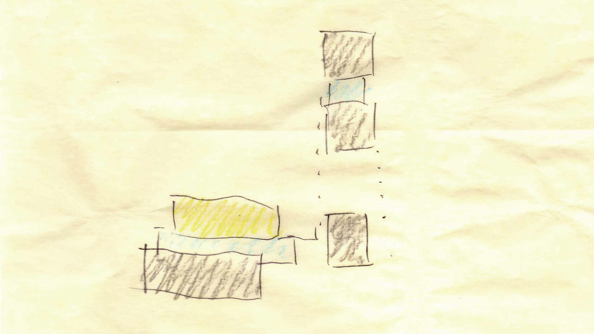 Parti Diagram - organization + material concept - central entry + circulation hall - Back40House - Markleville, IN - HAUS | Architecture For Modern Lifestyles