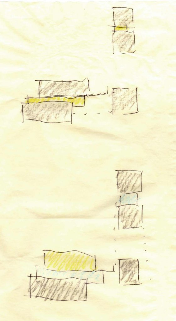 Parti Diagram - organization + material concept - central entry + circulation hall - Back40House - Marklesville, IN - HAUS | Architecture For Modern Lifestyles
