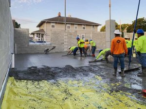 Parking Garage Concrete Pour + Finish - Vapor Barrier - G BLOC MIXED USE Development - Broad Ripple North Village - Urban Infill - Indianapolis