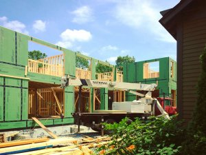 South Courtyard Framing Progress - Modern Villa Urban Home, Old Northside, Indianapolis