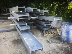 Steel Fabricated for Site Delivery (steel yard photo) - G BLOC MIXED USE Development - Broad Ripple North Village - Urban Infill - Indianapolis