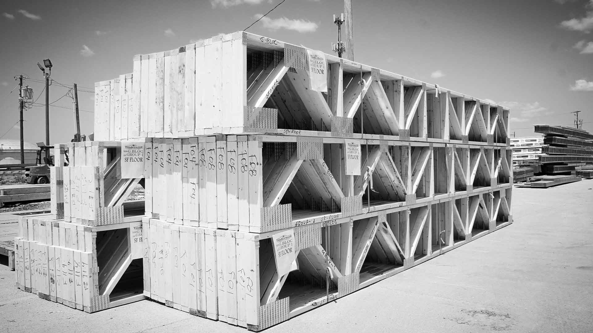 Wood Truss Fabrication (Yard Stock ready for site delivery) - G BLOC MIXED USE Development - Broad Ripple North Village - Urban Infill - Indianapolis