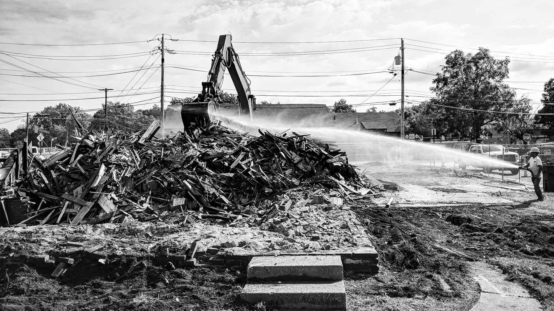 Site Demolition (Rubble Pile/Water Hose) - G BLOC MIXED USE Development - Broad Ripple North Village - Urban Infill - Indianapolis