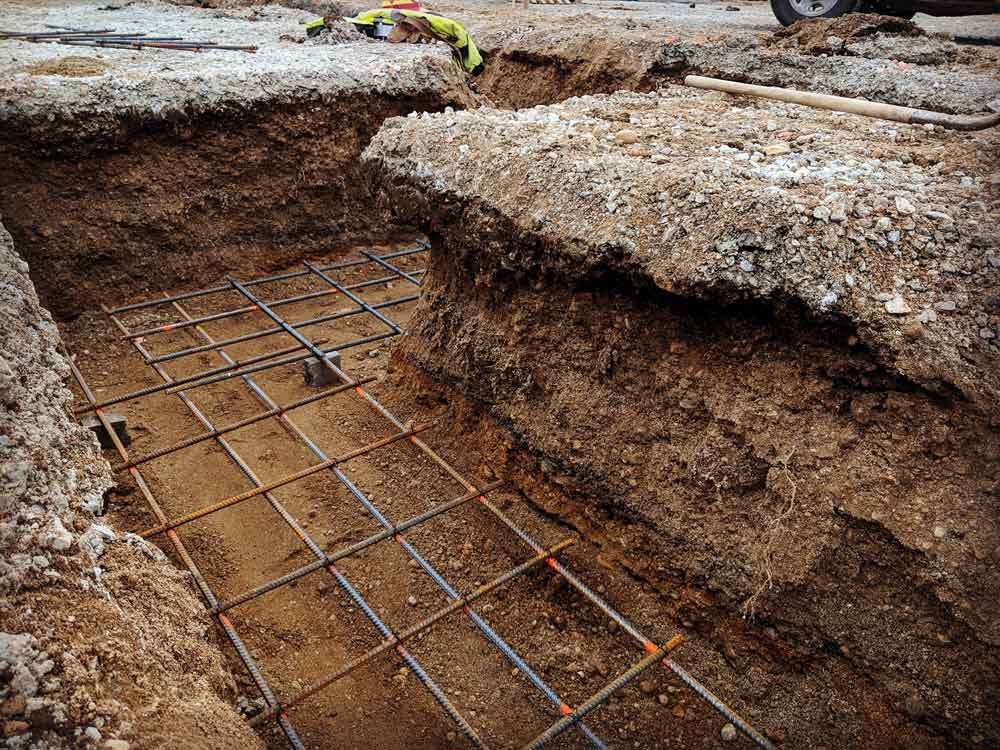 Grade Footing Detail - G BLOC MIXED USE Development - Broad Ripple North Village - Urban Infill - Indianapolis