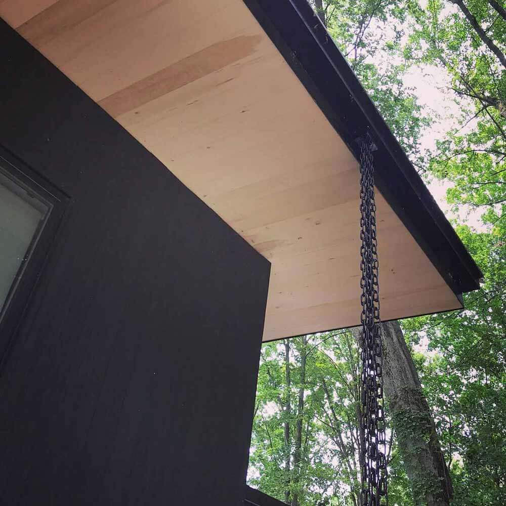 Black Aluminum Rainchain Downspout Detail (4 Rainchains) - Lakeside Modern Cottage - Unionville, Indiana, Lake Lemon