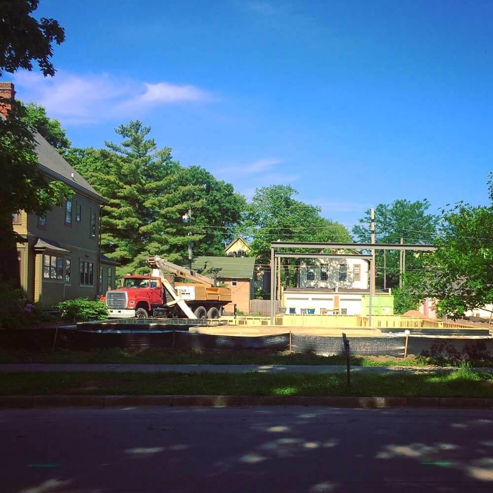 Street (East) Elevation - Foundations + Framing + Steel Progress - Modern Villa Urban Home, Old Northside, Indianapolis