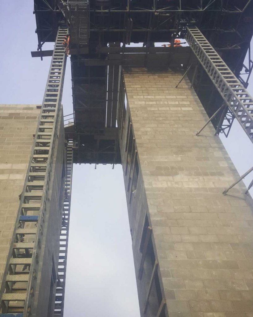 CMU Stair + Elevator Tower Topping-Out - Broad Ripple North Village - Urban Infill - Indianapolis