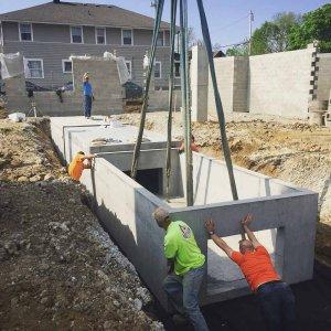 Stormwater Detention Structure Installation (precast concrete) - Broad Ripple North Village - Urban Infill - Indianapolis