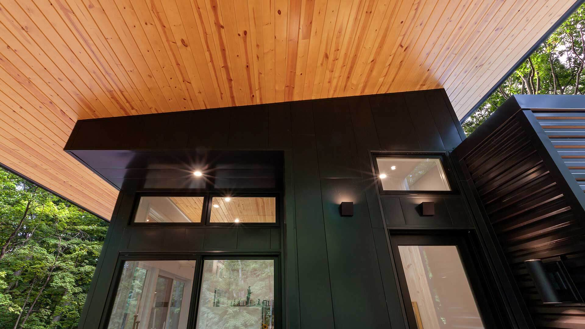 Stained Pine ceiling cladding, black metal siding, black corrugated siding, up-down lighting, blacEntry Porch Ceiling + Entry - Bridge House - Fennville, Michigan - Lake Michigan