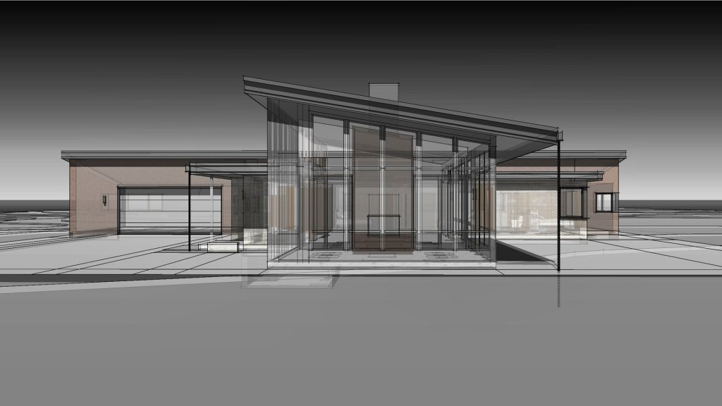 Screened Porch East Elevation - New Usonian House - Mooresville, IN - HAUS | Architecture For Modern Lifestyles, Architect - Christopher Short, AIA