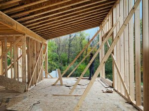 Studio Wing Framing Progress - Back40House - Pendleton, IN - HAUS   Architecture For Modern Lifestyles, Christopher Short, Indianapolis Architect - WERK   Building Modern, Paul Reynolds, Construction Manager