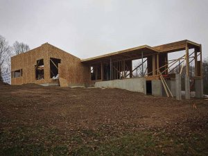 Exterior Elevation Framing Progress - Back40House - Pendleton, IN - HAUS | Architecture For Modern Lifestyles, Christopher Short, Indianapolis Architect - WERK | Building Modern, Paul Reynolds, Construction Manager