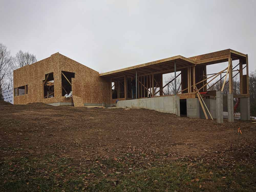 Exterior Elevation Framing Progress - Back40House - Pendleton, IN - HAUS   Architecture For Modern Lifestyles, Christopher Short, Indianapolis Architect - WERK   Building Modern, Paul Reynolds, Construction Manager