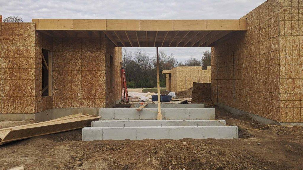 Breezeway Entry Progress - Back40House - Pendleton, IN