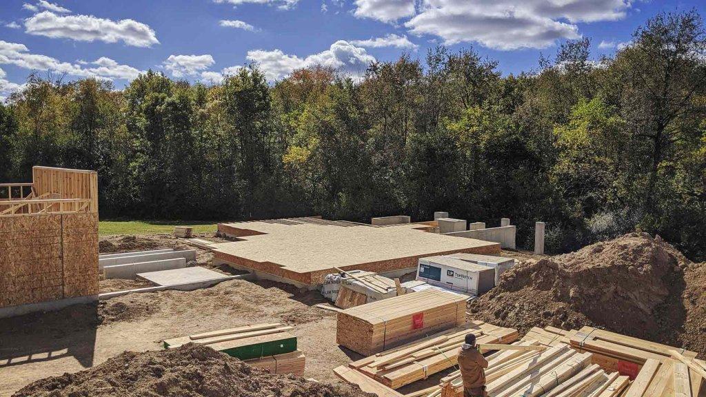 Garage + Main Platform Framing Progress - Back40House - Pendleton, IN - HAUS   Architecture For Modern Lifestyles, Christopher Short, Indianapolis Architect - WERK   Building Modern, Paul Reynolds, Construction Manager