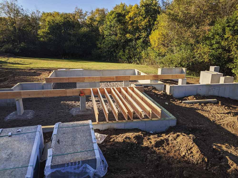 Main Floor Deck Framing Begins - Back40House - Pendleton, IN - HAUS   Architecture For Modern Lifestyles, Christopher Short, Indianapolis Architect - WERK   Building Modern, Paul Reynolds, Construction Manager