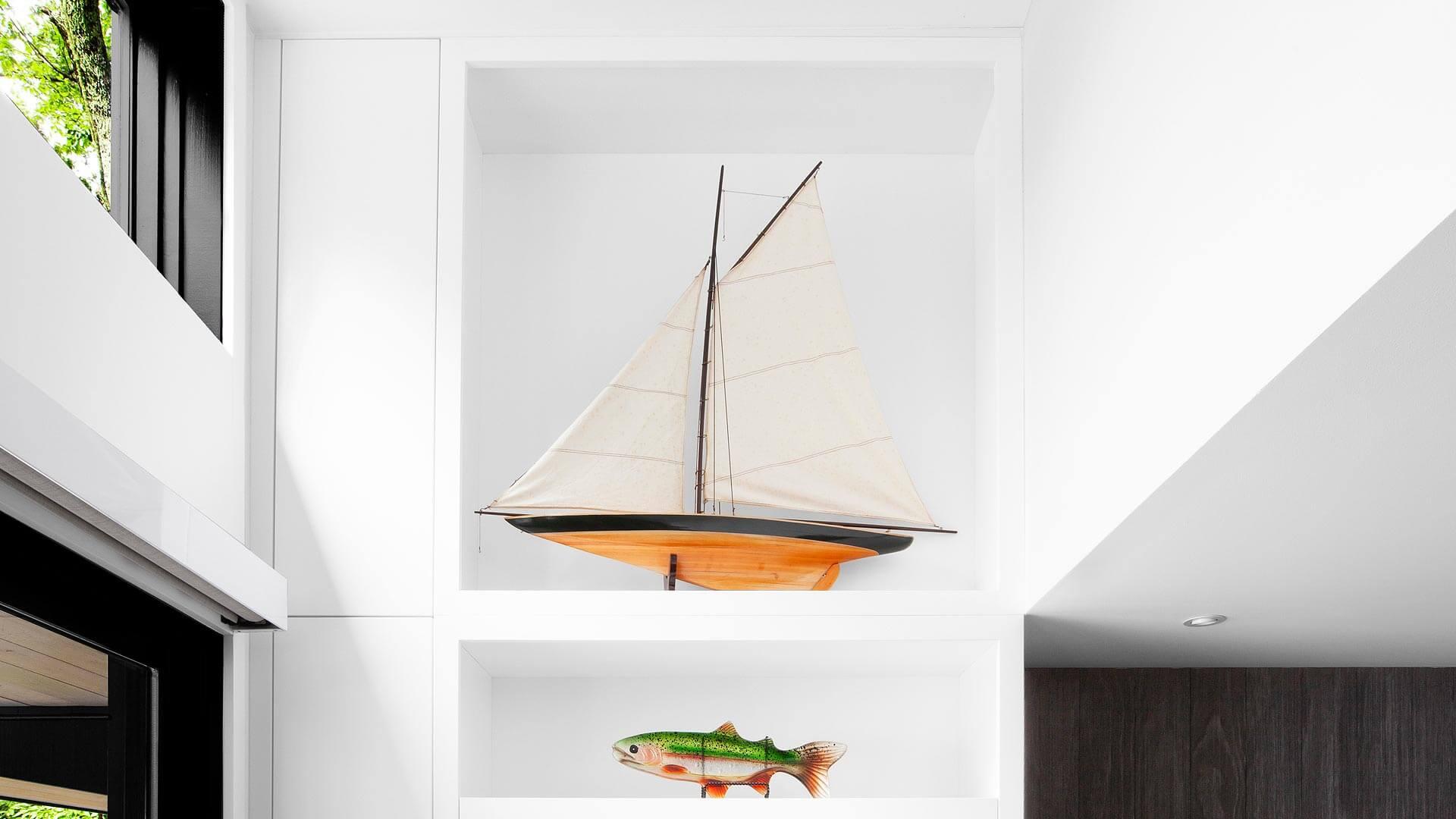 Sailboat Model is displayed in custom clerestory tower cabinet - Lakeside Modern Cottage (H-LODGE) - Unionville, Indiana, Lake Lemon