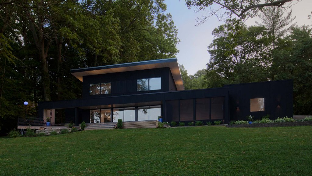 Lakeside Exterior Elevation - Shou Sugi Ban Siding - screened porch, composite decking, uplighted soffits,Lakeside Exterior Elevation - Lakeside Modern Cottage (H-LODGE) - Unionville, Indiana, Lake Lemon - HAUS Architecture